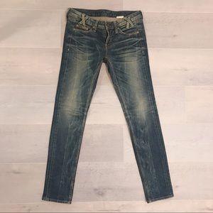 Korean dark blue washed skinny jeans